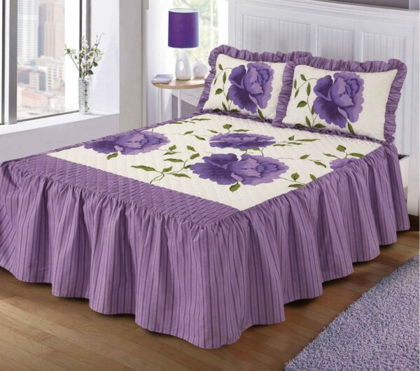"Luxurious ROSALEEN Quilted Bedspread Floral VALANCE Style 23"" Deep Frilled Bedspread with Pillow Shams 1"