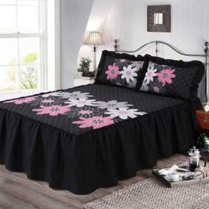 "LYNDA QUILTED BEDSPREAD 23"" Deep Floral Prints Bed Frill With 2 Pillow Shams Set 4"