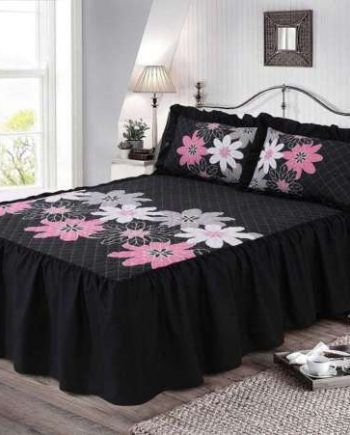 LYNDA QUILTED BEDSPREAD 23″ Deep Floral Prints Bed Frill With 2 Pillow Shams Set s l500 350x435