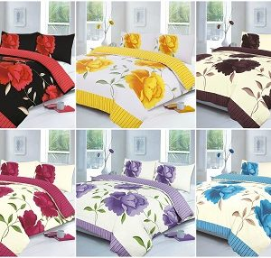 Rosaleen Flowery Duvet Cover Sets with Pillow Cases - Fabric Poly Cotton 24