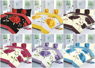Rosaleen Flowery Duvet Cover Sets with Pillow Cases - Fabric Poly Cotton 1