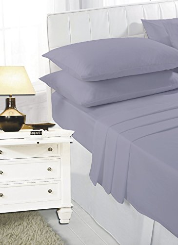Voice7 Easy Care Non-Iron Plain Sheets Set Fitted Flat Poly-Cotton Sheets + Pair of Pillowcases 22