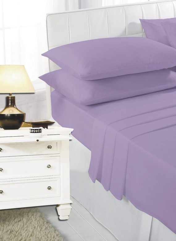 Voice7 Easy Care Non-Iron Plain Sheets Set Fitted Flat Poly-Cotton Sheets + Pair of Pillowcases 3