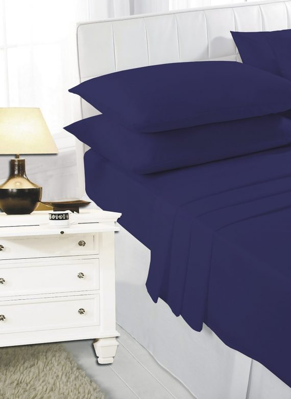 Voice7 Easy Care Non-Iron Plain Sheets Set Fitted Flat Poly-Cotton Sheets + Pair of Pillowcases 2