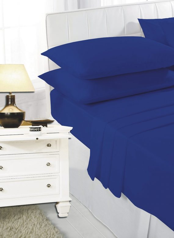 Voice7 Easy Care Non-Iron Plain Sheets Set Fitted Flat Poly-Cotton Sheets + Pair of Pillowcases 6