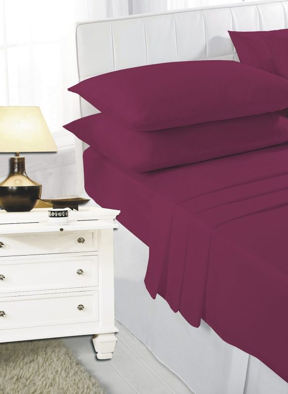 Voice7 Easy Care Non-Iron Plain Sheets Set Fitted Flat Poly-Cotton Sheets + Pair of Pillowcases 5