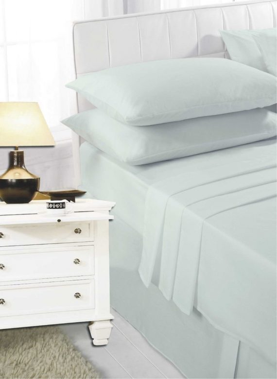 Voice7 Easy Care Non-Iron Plain Sheets Set Fitted Flat Poly-Cotton Sheets + Pair of Pillowcases 21