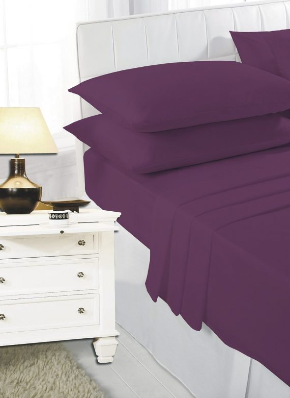 Voice7 Easy Care Non-Iron Plain Sheets Set Fitted Flat Poly-Cotton Sheets + Pair of Pillowcases 18