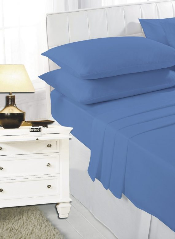Voice7 Easy Care Non-Iron Plain Sheets Set Fitted Flat Poly-Cotton Sheets + Pair of Pillowcases 16
