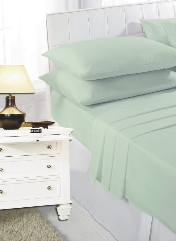Voice7 Easy Care Non-Iron Plain Sheets Set Fitted Flat Poly-Cotton Sheets + Pair of Pillowcases 14