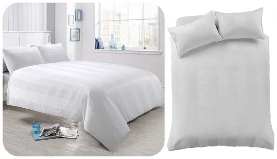 Voice 7 Luxurious Waffle Stripe Duvet Cover Set with Two Pillow Cases Rich Cotton Touch Quilt Cover Bedding Sets 4