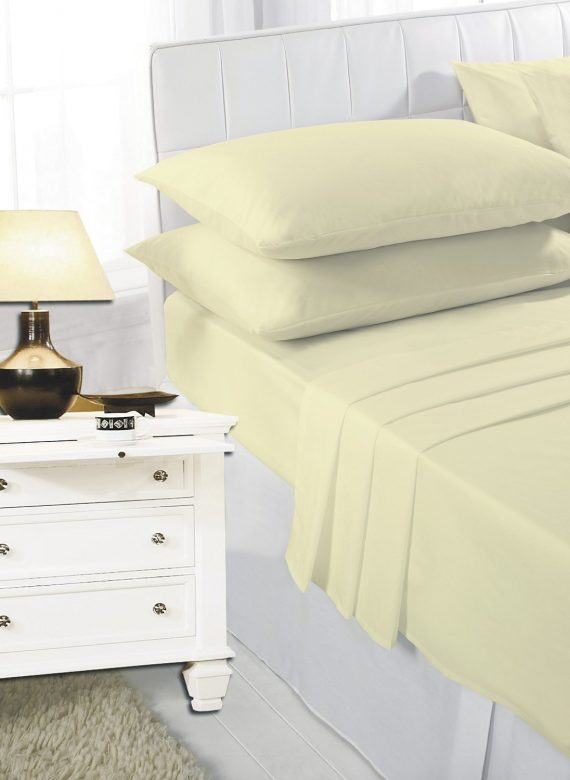 Voice7 Easy Care Non-Iron Plain Sheets Set Fitted Flat Poly-Cotton Sheets + Pair of Pillowcases 4