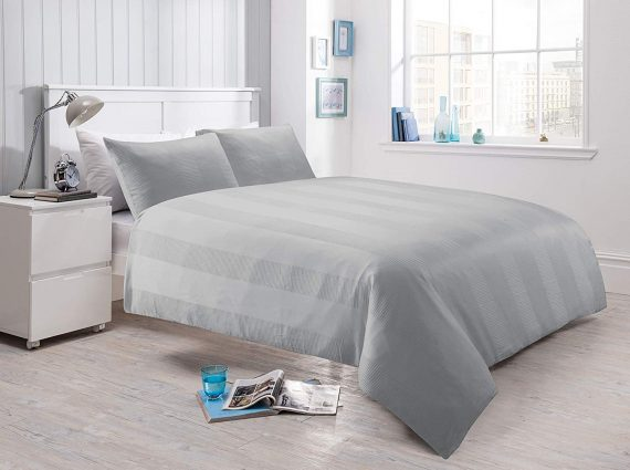 Voice 7 Luxurious Waffle Stripe Duvet Cover Set with Two Pillow Cases Rich Cotton Touch Quilt Cover Bedding Sets 5