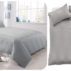 Voice 7 Luxurious Waffle Stripe Duvet Cover Set with Two Pillow Cases Rich Cotton Touch Quilt Cover Bedding Sets 30