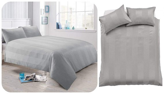 Voice 7 Luxurious Waffle Stripe Duvet Cover Set with Two Pillow Cases Rich Cotton Touch Quilt Cover Bedding Sets 1