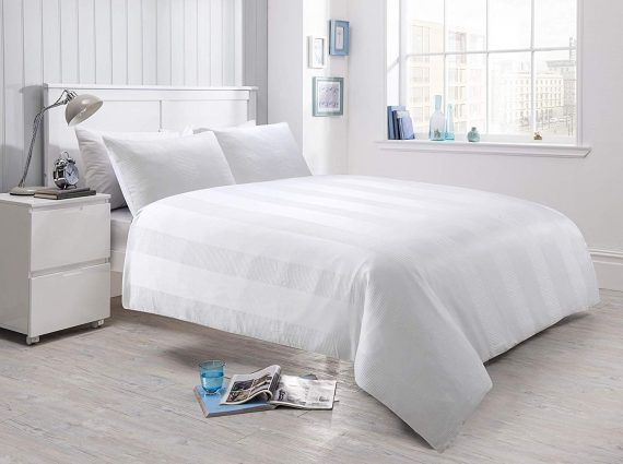 Voice 7 Luxurious Waffle Stripe Duvet Cover Set with Two Pillow Cases Rich Cotton Touch Quilt Cover Bedding Sets 6