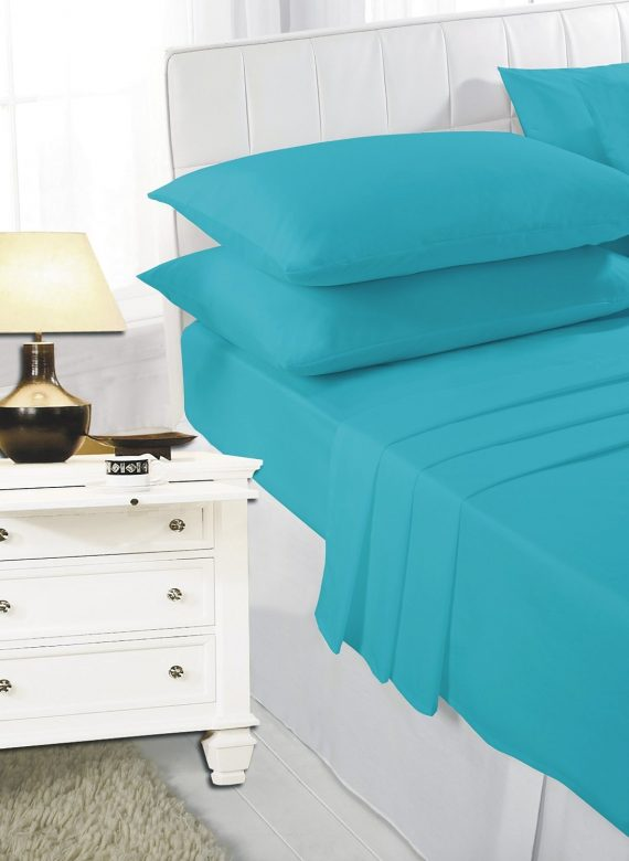 Voice7 Easy Care Non-Iron Plain Sheets Set Fitted Flat Poly-Cotton Sheets + Pair of Pillowcases 9