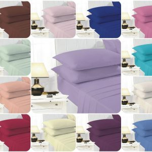 Voice7 Easy Care Non-Iron Plain Sheets Set Fitted Flat Poly-Cotton Sheets + Pair of Pillowcases 10
