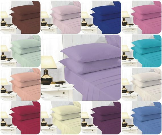 Voice7 Easy Care Non-Iron Plain Sheets Set Fitted Flat Poly-Cotton Sheets + Pair of Pillowcases 1