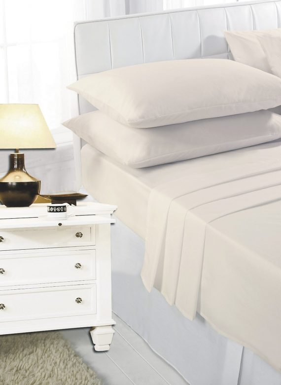 Voice7 Easy Care Non-Iron Plain Sheets Set Fitted Flat Poly-Cotton Sheets + Pair of Pillowcases 8
