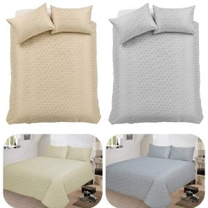 voice7 Decent Hampton Two-Shade Jacquard Duvet Cover Set With Two Pillow Cases Cotton Rich Quilt Cover Bedding Sets 24