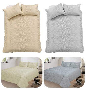 voice7 Decent Hampton Two-Shade Jacquard Duvet Cover Set With Two Pillow Cases Cotton Rich Quilt Cover Bedding Sets 6
