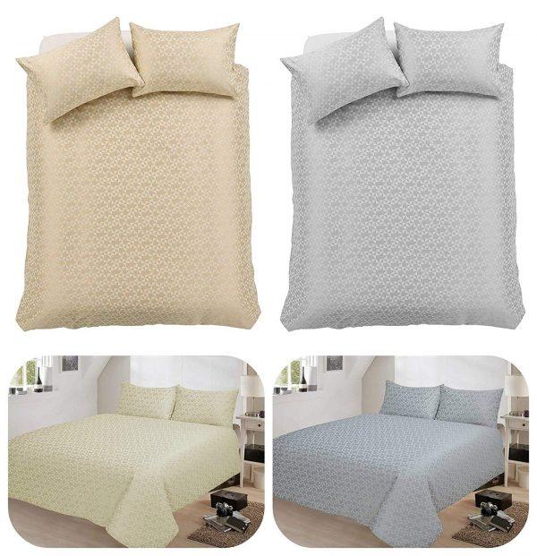 voice7 Decent Hampton Two-Shade Jacquard Duvet Cover Set With Two Pillow Cases Cotton Rich Quilt Cover Bedding Sets 1
