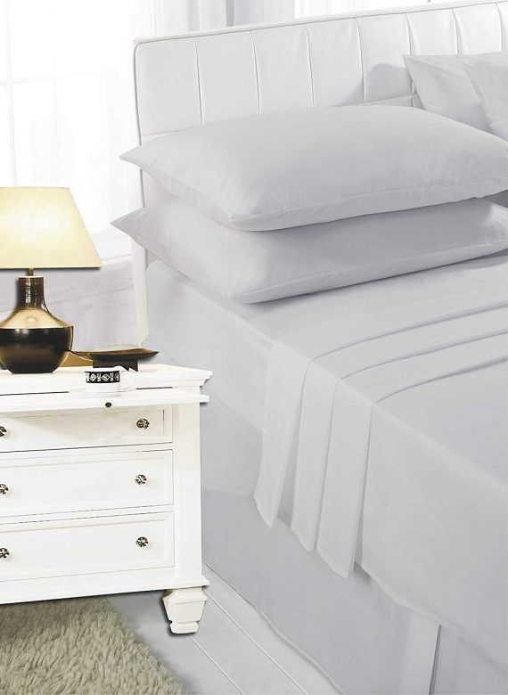 Voice7 Easy Care Non-Iron Plain Sheets Set Fitted Flat Poly-Cotton Sheets + Pair of Pillowcases 7