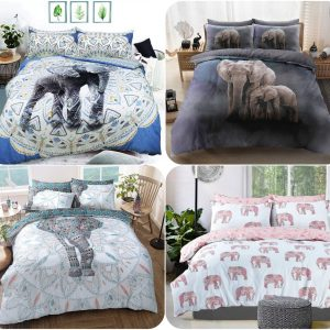 Voice7 Elephant Grey Duvet Cover + Matching Pillow Cases - Poly Cotton Reversible Bedding Set Printed Animal Quilt Covers UK Sizes 2