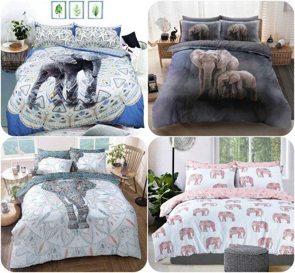 Voice7 Elephant Grey Duvet Cover + Matching Pillow Cases - Poly Cotton Reversible Bedding Set Printed Animal Quilt Covers UK Sizes 1