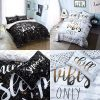 Voice7 Luxury Chill Slogan Duvet Set - Includes Quilt Cover with Matching Pillow Cases - Printed Poly Cotton Bedding Set UK Size 4