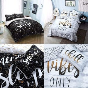 Voice7 Luxury Chill Slogan Duvet Set - Includes Quilt Cover with Matching Pillow Cases - Printed Poly Cotton Bedding Set UK Size 14