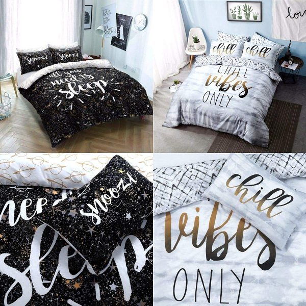 Voice7 Luxury Chill Slogan Duvet Set - Includes Quilt Cover with Matching Pillow Cases - Printed Poly Cotton Bedding Set UK Size 1