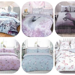 Voice7 Luxury Unicorn Duvet Cover Set with Pillow Cases - Reversible Quilt Covers Poly Cotton Non-Iron Animal Bedding Set UK Size 12
