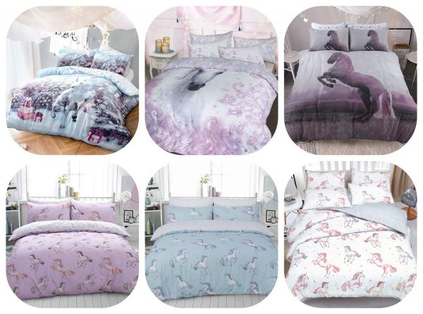Voice7 Luxury Unicorn Duvet Cover Set with Pillow Cases - Reversible Quilt Covers Poly Cotton Non-Iron Animal Bedding Set UK Size 1