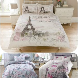Luxury Eiffel Tower Paris Duvet Cover Set with Matching Pillow Cases - Romantic Quilt Covers Sets Gift Ideas For Men Women - UK Size Home Bedding 6