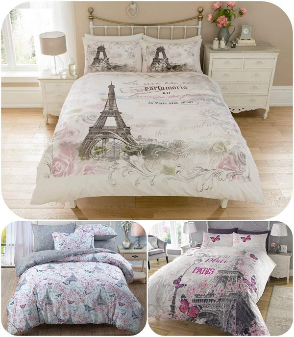 Luxury Eiffel Tower Paris Duvet Cover Set with Matching Pillow Cases - Romantic Quilt Covers Sets Gift Ideas For Men Women - UK Size Home Bedding 1